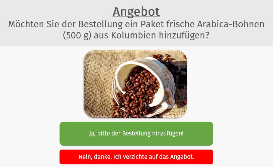 Beispiel eines 1-Click-Upsells mit AffiliCon