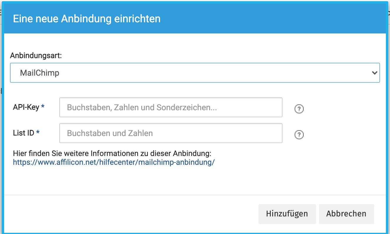 Mailchimp Anbindung einrichten