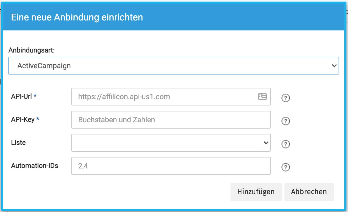 Anbindung für ActiveCamapign mit Affilicon einrichten